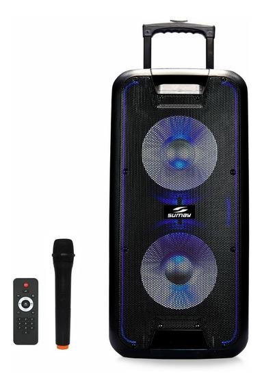 Caixa Amplificada Sumay Titan 600w Falante 2x10pol Bluetooth