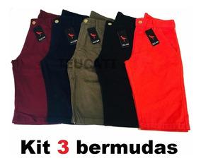 Kit 3 Bermuda Sarja Juvenil Brim Slim