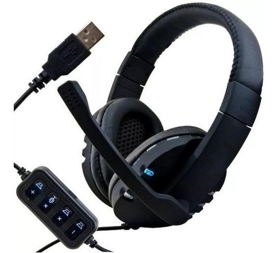 Fone Ouvido Gamer Headset Microfone Usb Pc Ps3 Ps4 Leds Rgb