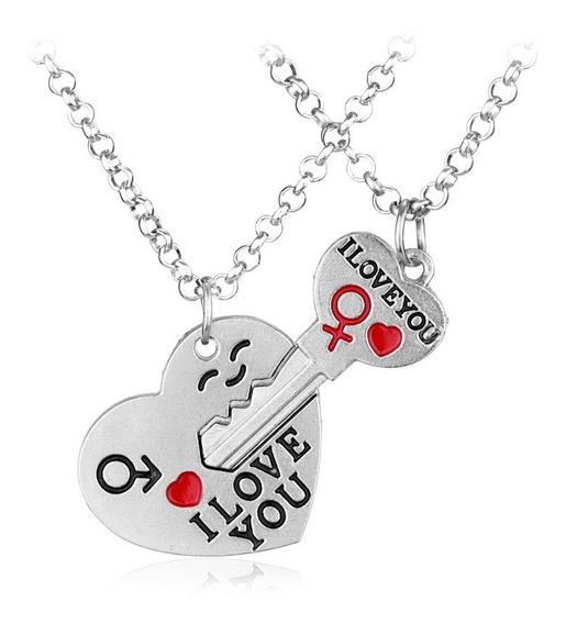 Colar Duplo Namorados - I Love You - Eu Te Amo - Chave 2