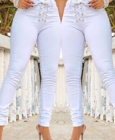 2019 Calça Jeans Ilhos **** Branca