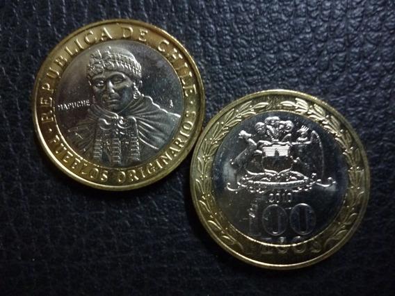 Chile Moneda Bimetalica 100 Pesos Unc 2010
