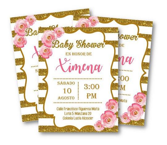 Personalizada Invitaciones Baby Shower Dorado Con Rosa