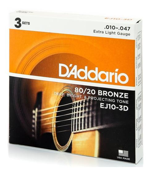 3 Encordoamento Daddario 010 Violão Aço Ej10-3d Ej10 C/ Nf-e