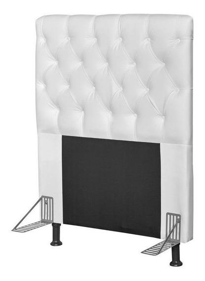Cabeceira de cama box JS Móveis Cristal Solteiro 90cm x 126cm Eco-couro branca