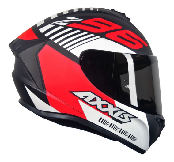 Capacete Axxis Draken Z96 Preto Fosco/vermelho/branco