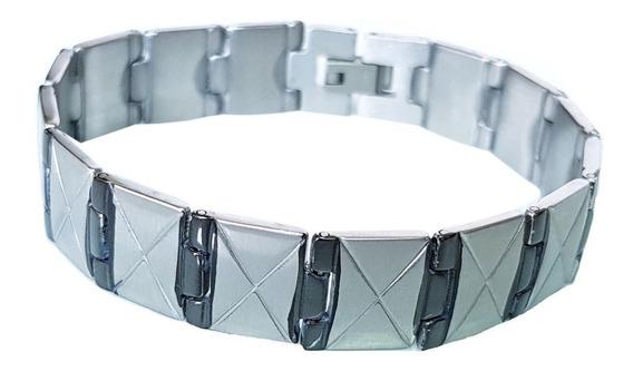 Bracelete Pulseira Masculina Aço Inoxidável Prateada 316l