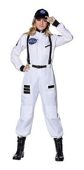 Disfraz Adulto Mujer Astronauta Nasa Traje Espacial Gorra
