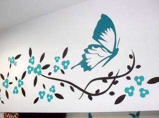 Vinilo Decorativo Mariposa Florecitas Pared Mas Diseños 4u