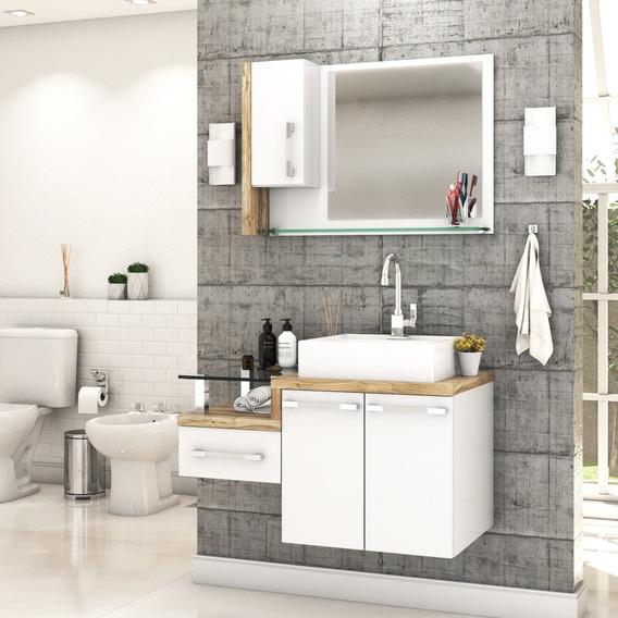 Armário Gabinete P/banheiro C/cuba Q39+espelheira Legno 830