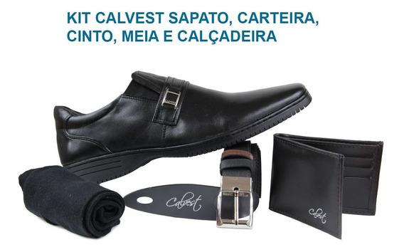 Sapato Calvest 5040d605 Kit Carteira/cinto/meia/calçadeira