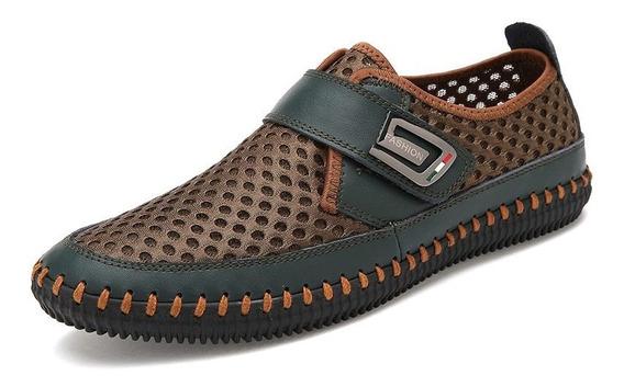 Merkmak Couro Genuíno Sapatos De Verão Homens Flats Mocassin