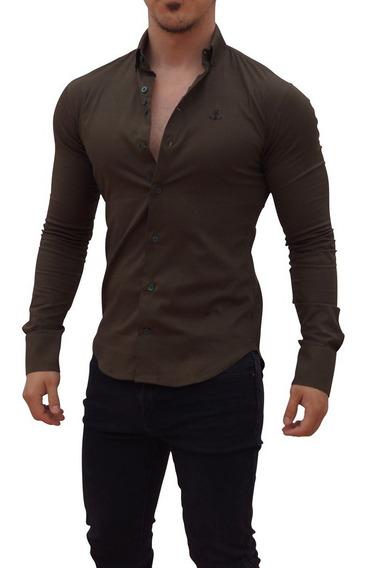 Camisa John Leopard Verde Militar Super Slim Fit Envio Grati