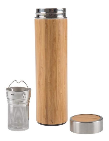 Termos De Bambu 450ml Con Infusor Para Té Y Café