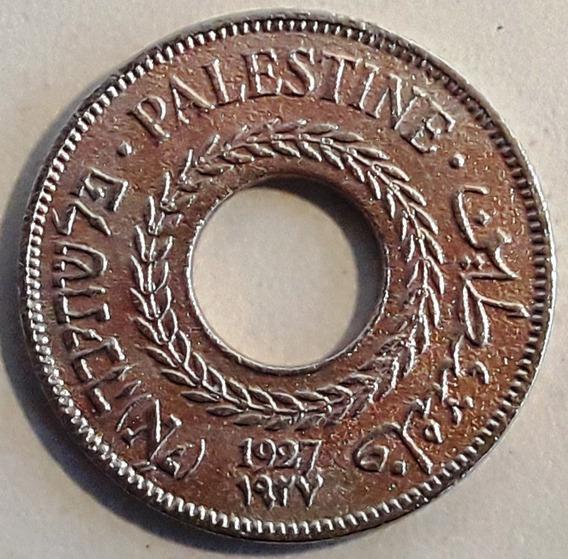 Palestina Moneda Del Año 1927 Y De 5 Mils (3 Idiomas)