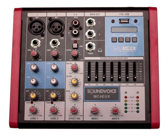 Mesa De Som 4 Canais Usb Efx Eq Compacta Mc-4 Eux Soundvoice