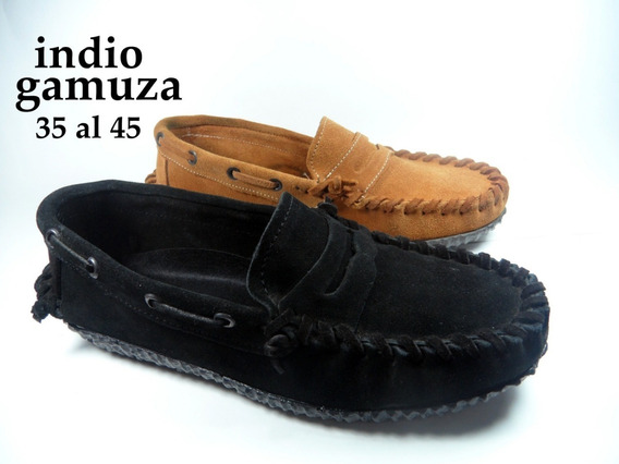 Zapato Nautico Indio Gamuza Colegial Vincha O Cordon