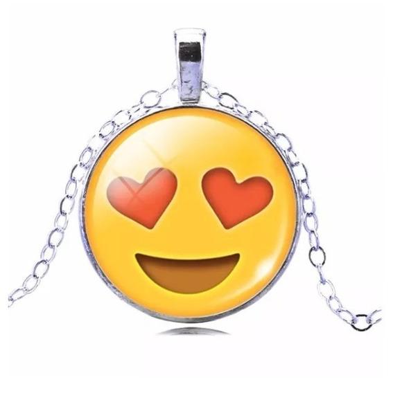 Cordão Colar Emojis Emoticons Apaixonado Folheado A Níquel