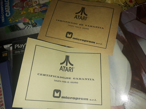 Certificado De Garantia Original Atari C/u
