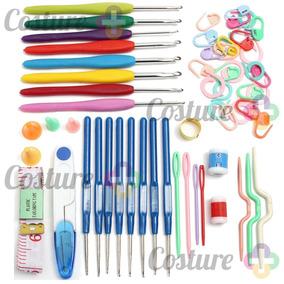 Kit Com Marcadores E Acessórios Para Crochê E 16 Agulhas