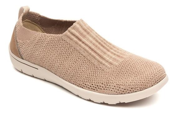 Calzado Sneakers Flat Dama Mujer Flexi Textil Comodo Beige