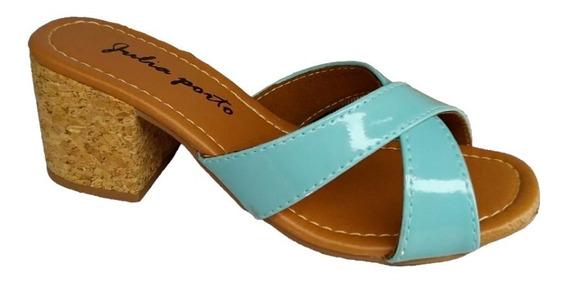 Sapato Feminino Tamanco De Salto Alto Médio 5 Cm Verniz Jp