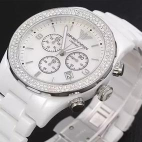Relógio Qm1951 Empório Armani Ar1456 Cerâmica Branca / Caixa