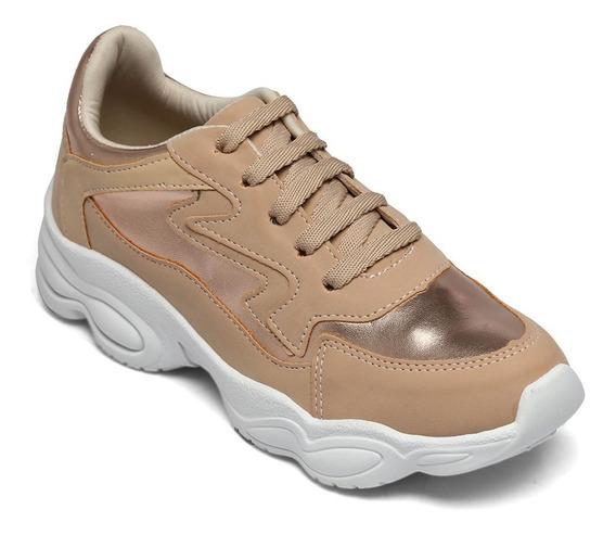 Tênis Dad Sneaker Looshoes Nobuck Pele/rosê/amêndoa 055 G