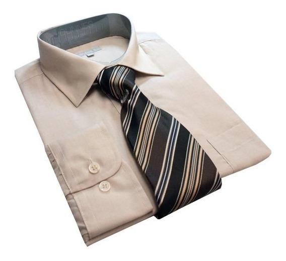 Camisa Masculina Lisa Com Gravata, 925