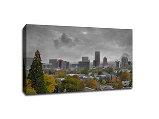 Portland - Touch Of Color Skylines - 36x24 Gallery Canvas Ca
