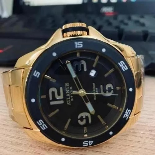 Lindo Relógio Original Atlantis Dourado