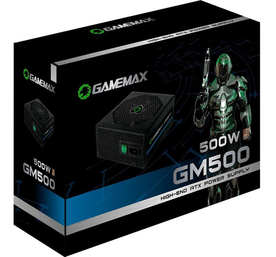 Fonte Gamer 500w Gamemax 80 Plus Bronze Gm500 Com Cabo