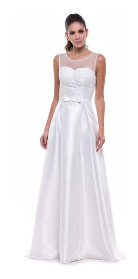 Vestido Noiva Civil Casamento Bordado Pérolas Decote Coração