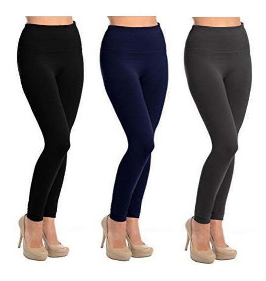 3 Leggins Invierno Pantalon Termico Combo X3 Negro Azul Gris