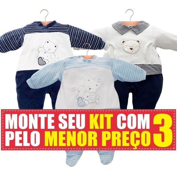 Kit Com 3 Macacão De Bebê Em Plush Bordado Maxi Baby
