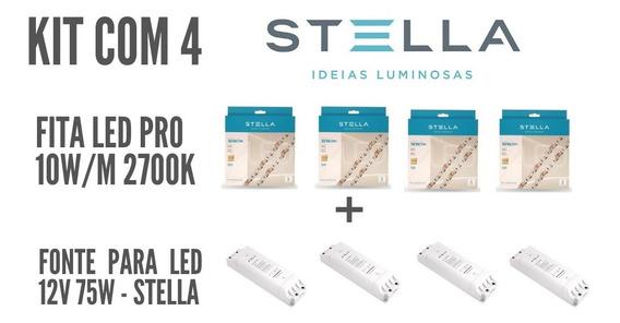 Kit Com 4 Fita 10w/m 2700k Stella + 4 Fonte 12v 75w Stella