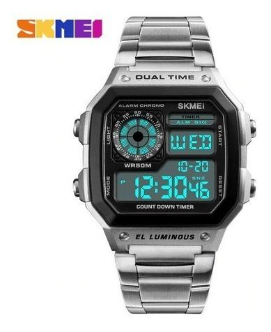 Relógio Masc Skmei 1335 Digital Pulseira Aço Prata 12xs/juro