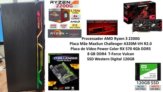 Pc Gamer Amd Ryzen 3 2200g 8gb Ssd 120gb Rx 570 4gb