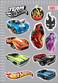 Adesivo Hot Wheels Carros Carro Hotwheels Kit 3 Cartelas