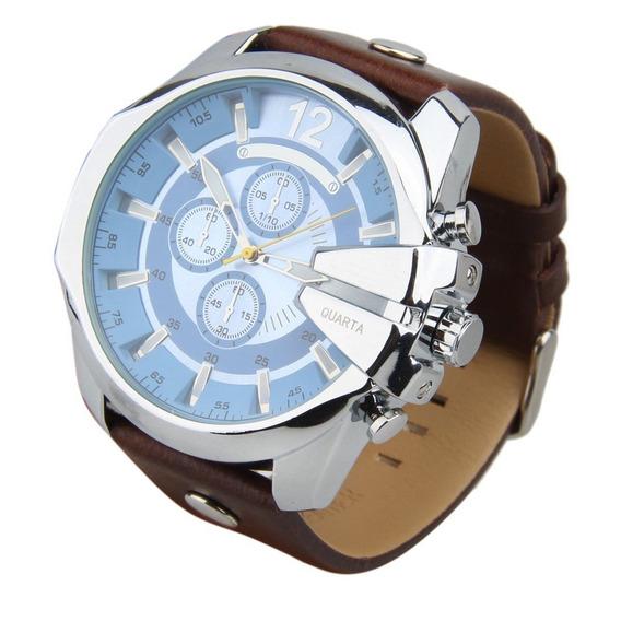 Relógio Masculino Curren Analógico Azul/marrom Frete Grátis