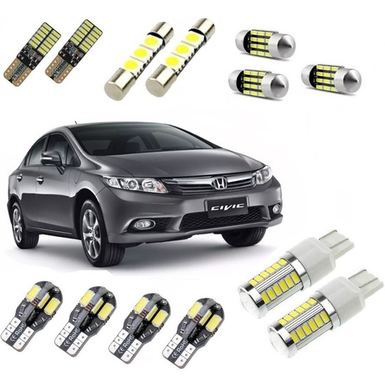 Kit Lampadas Led Premium Civic 2012 2013 Pingo Placa Teto Ré