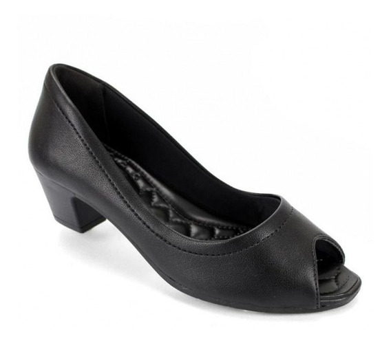 Sapato Feminino Salto Bxo Peep Toe Preto Comfortflex Clique+