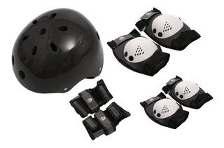 Kit De Proteção Skate Com Capacete Tam. G Preto Bel Sports