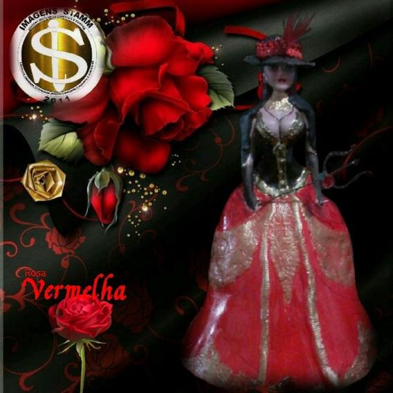 Pomba Gira Rosa Vermelha,escultura 31cm,vestido Armado