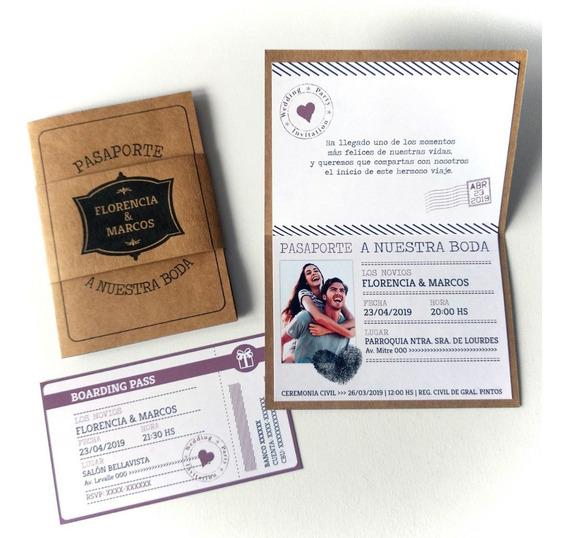 Invitaciones Casamiento 15 Años Pasaporte Ticket Foto
