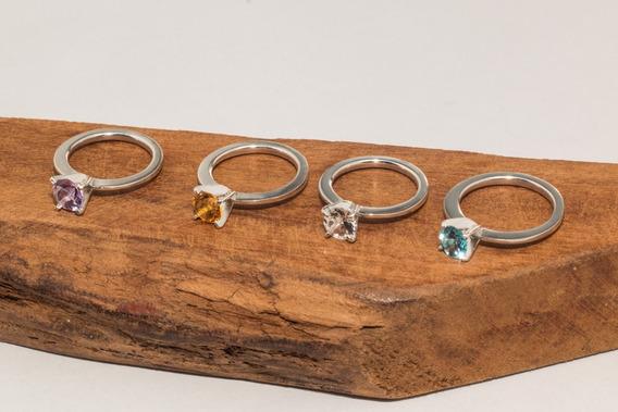 Anel De Compromisso Kit Com 4 Aneis De Prata Com Pedras