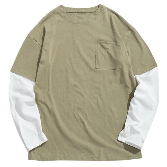 Largo Mangas Contrastar T Camisa