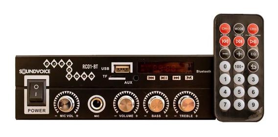 Receiver Amplificador Compacto Rc01-bt Bluethooth Usb Sd Fm