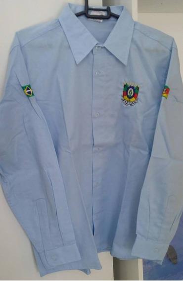 Camisa Manga Longa Infantil Azul Claro Símbolo Rs