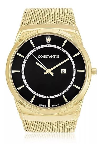 Relógio Constantim Gold Black Zw20010u Pulseira Esteira